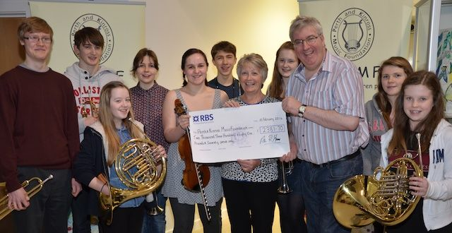 PKMF chairperson, Mhairi Mackinnon, was delighted to accept a cheque for £2381 on behalf of the foundation.